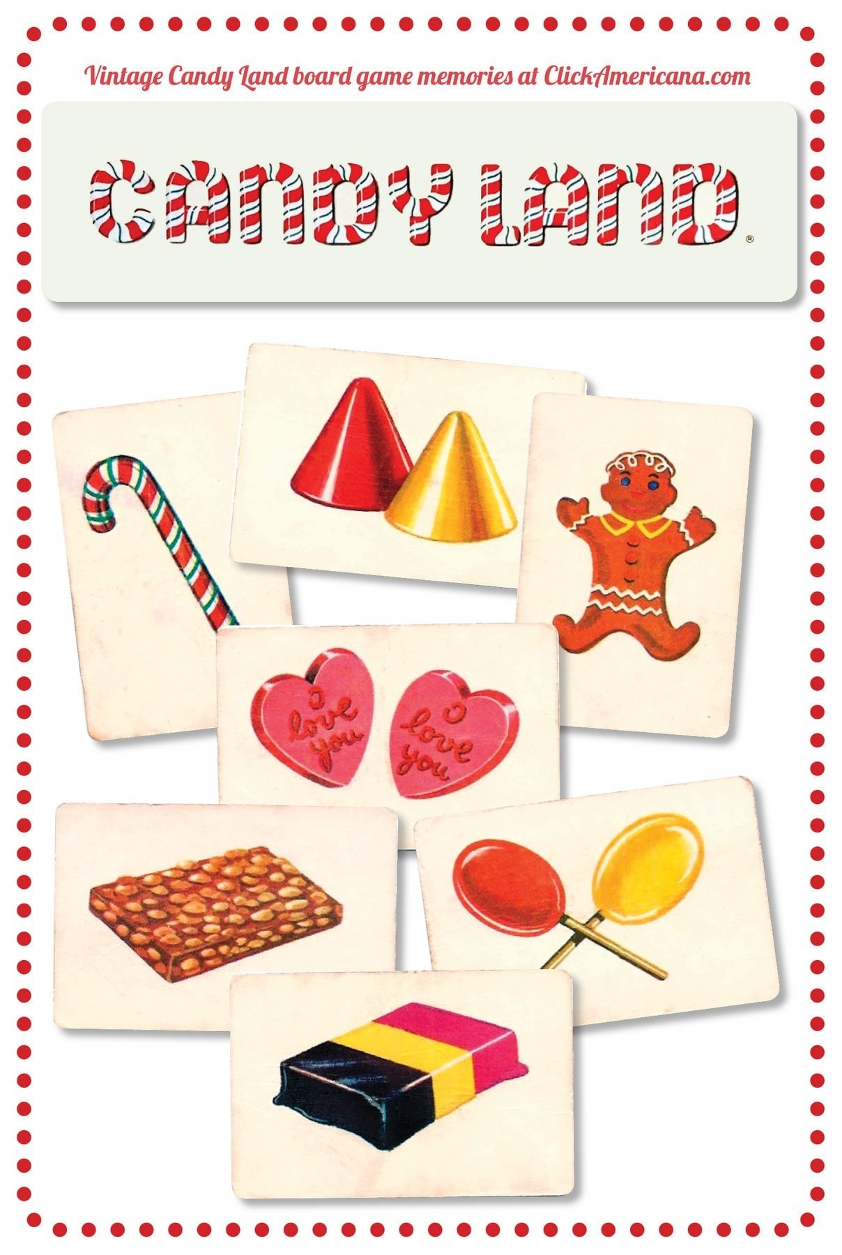 Vintage Candy Land board game cards