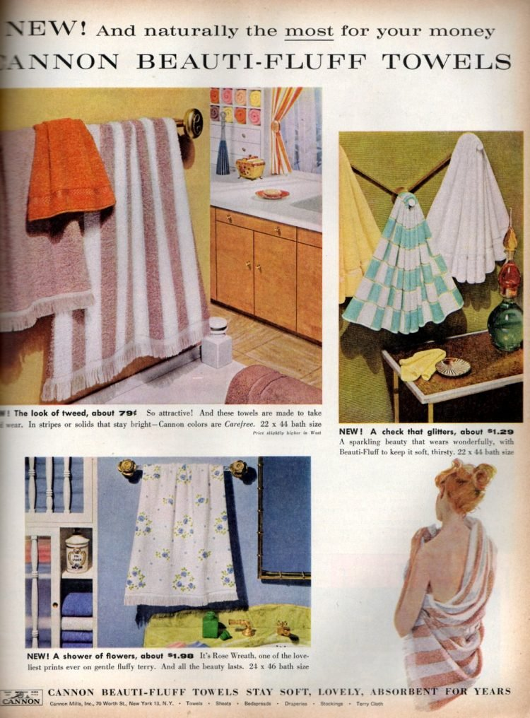 Vintage Cannon Beauti-Fluff Towels from the 1950s