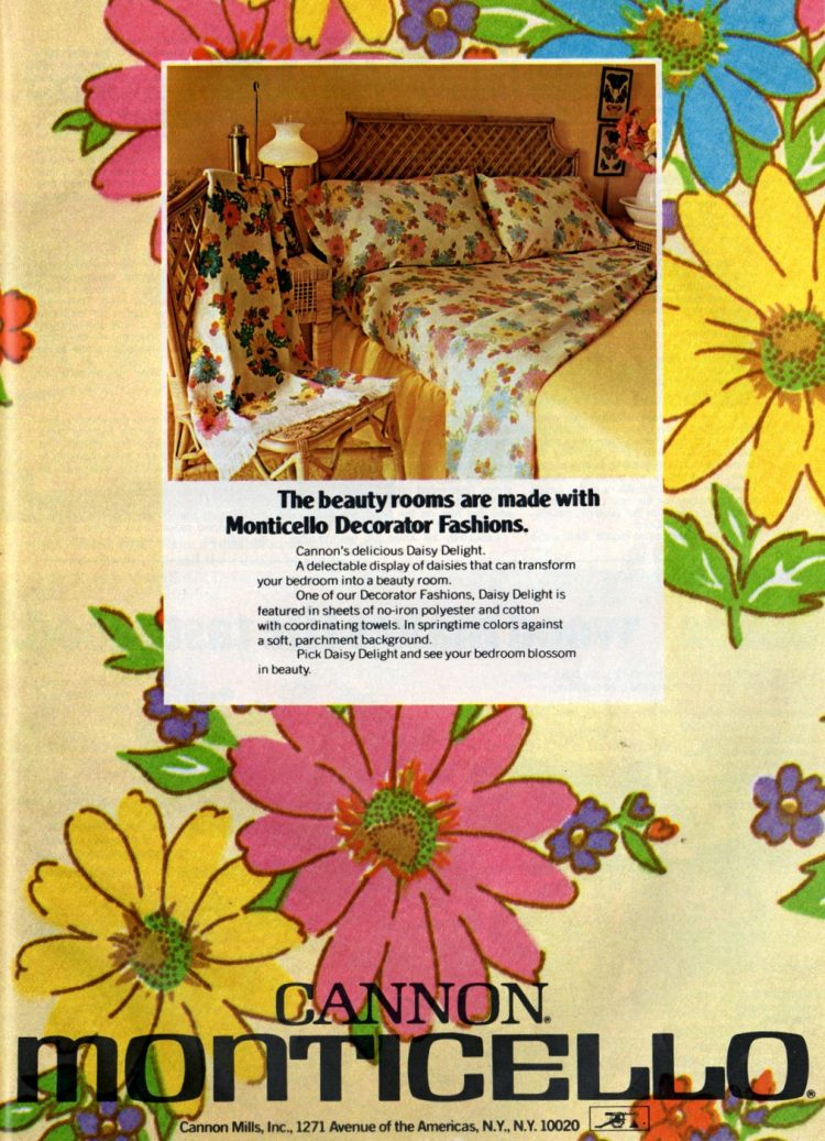 Vintage Cannon floral sheets from 1974