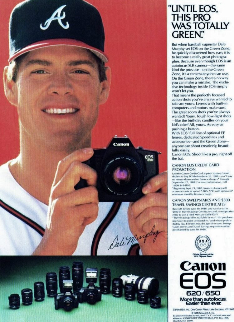 Vintage Canon EOS 620-650 cameras with baseball player Dale Murphy (1988)