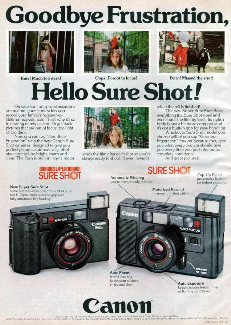 Vintage Canon Sure Shot cameras ad from 1981