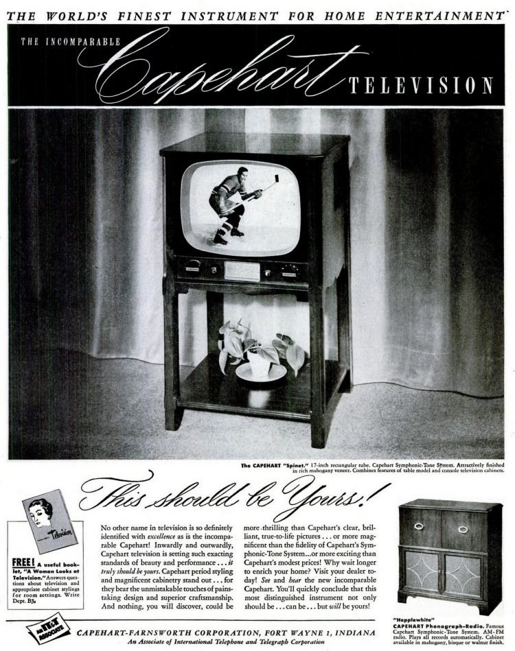Vintage Capehart-Farnsworth televisions from 1950