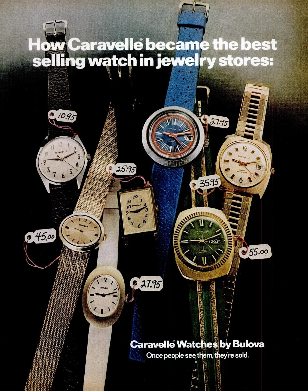 Vintage Caravelle watches by Bulova (1972)