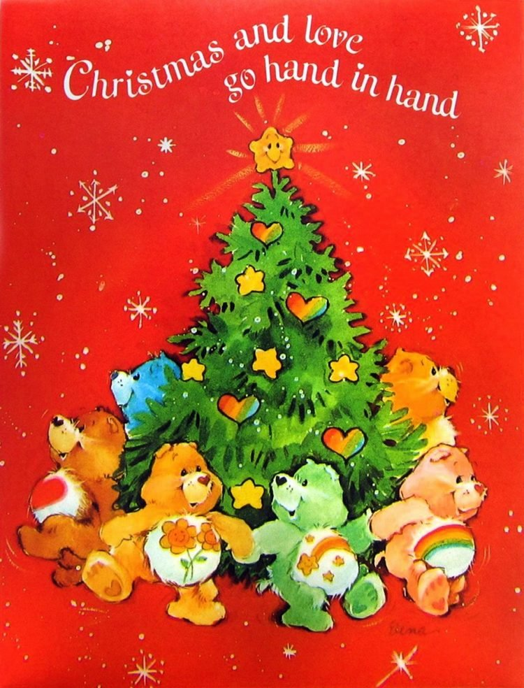 Vintage Care Bears Christmas card