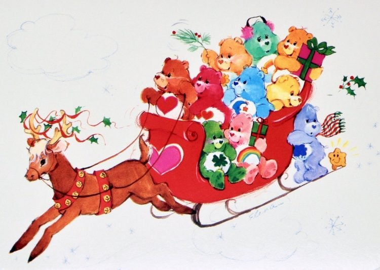 Vintage Care Bears Christmas card on a sleigh