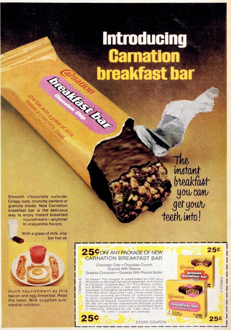 Vintage Carnation Breakfast bar 1976