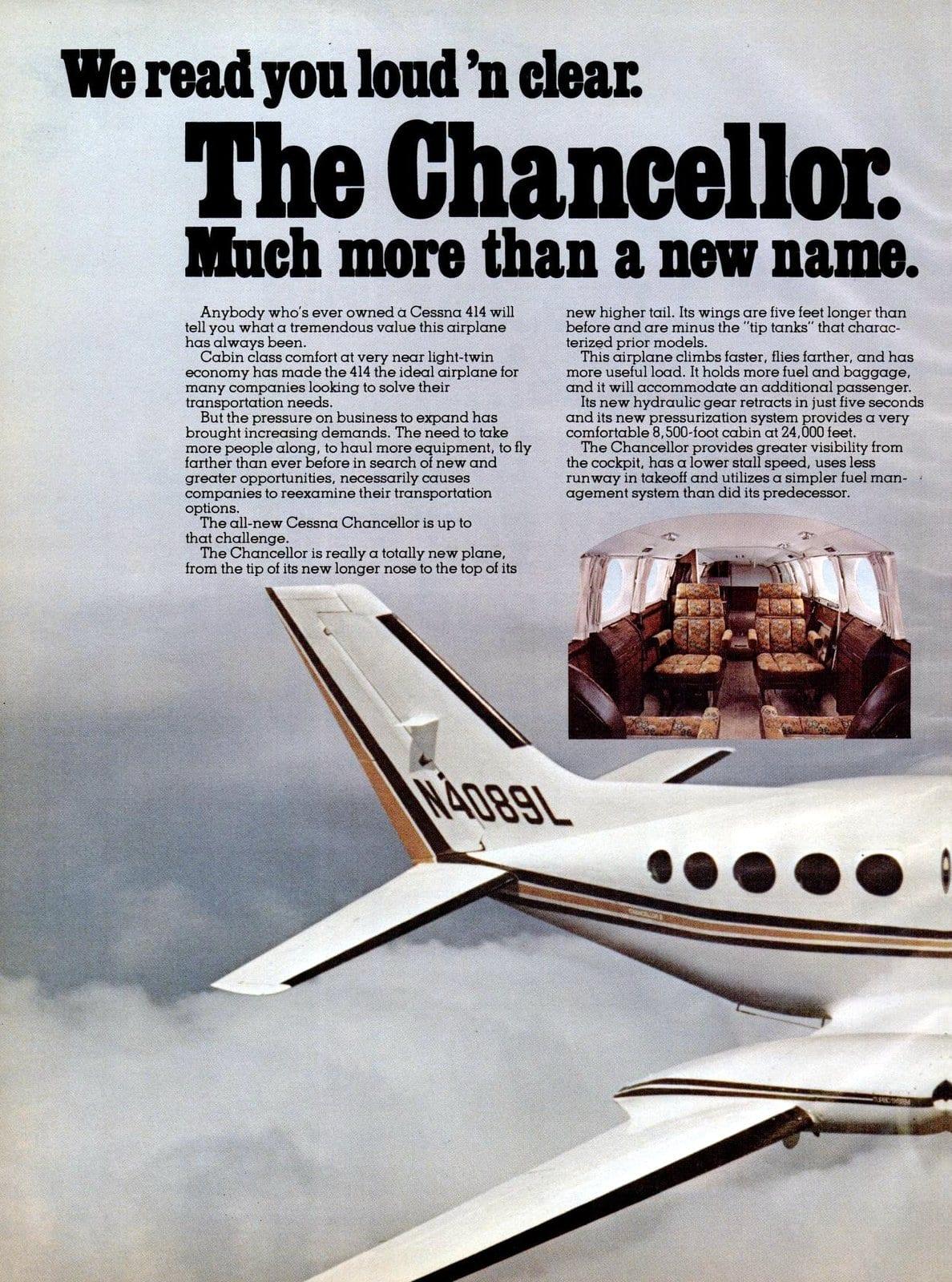 Vintage Cessna Chancellor plane (1977)