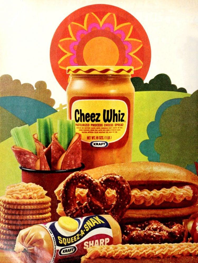 Vintage Cheez Whiz serving ideas