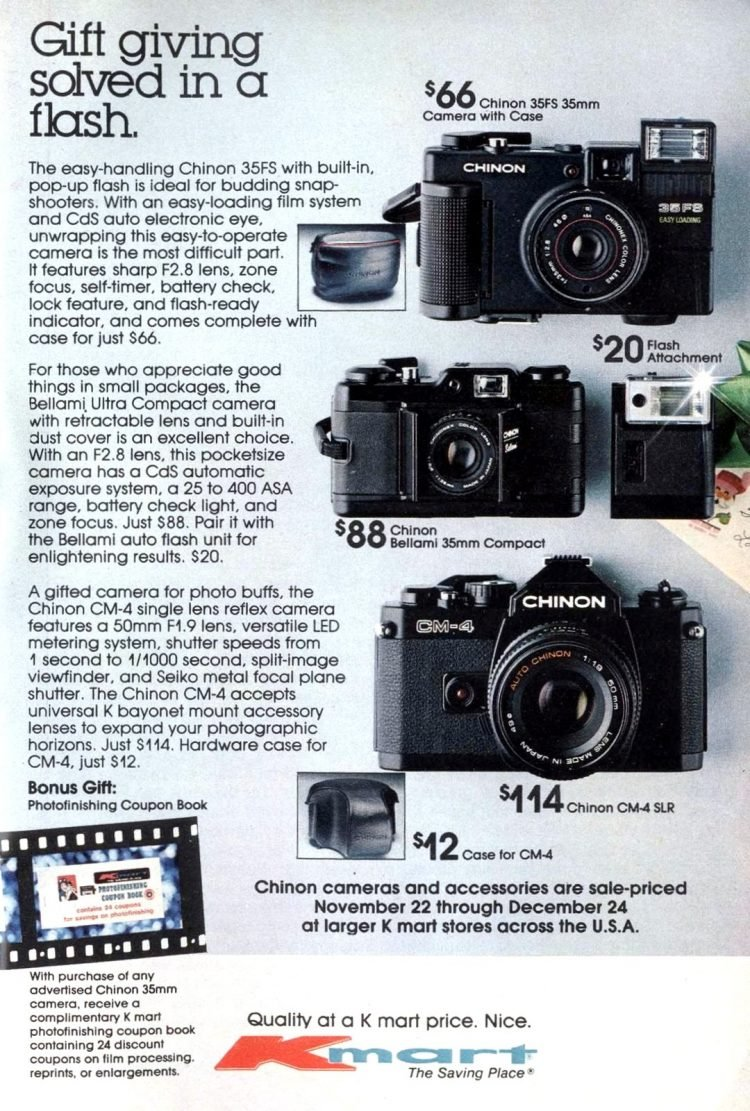 Vintage Chinon cameras ad from 1982