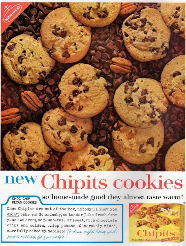 Vintage Chipits chocolate chip pecan cookies (1963)