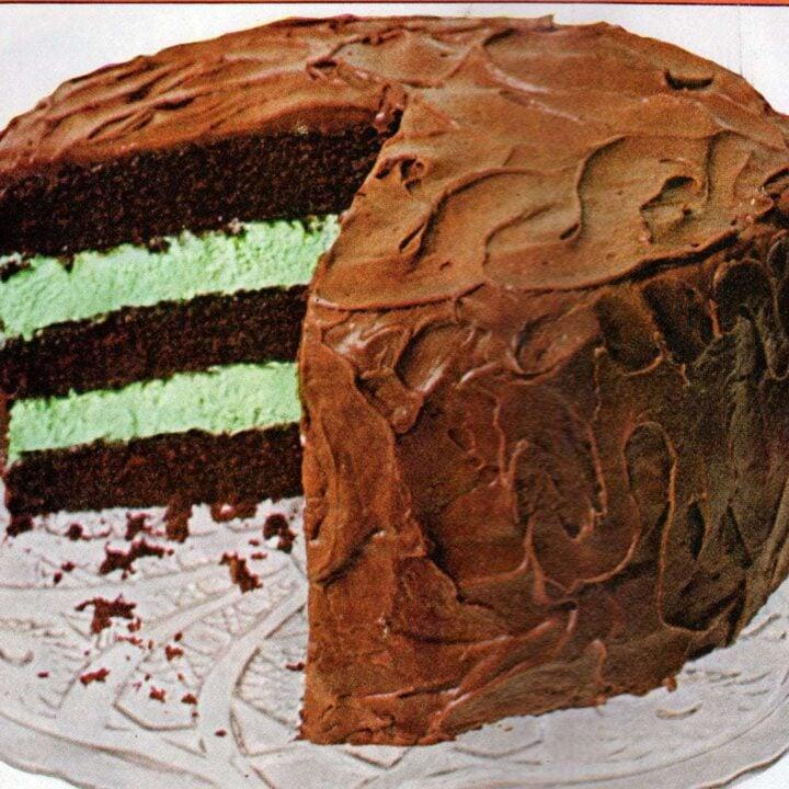 Vintage Chocolate mint-whipped cream cake recipe (1968)