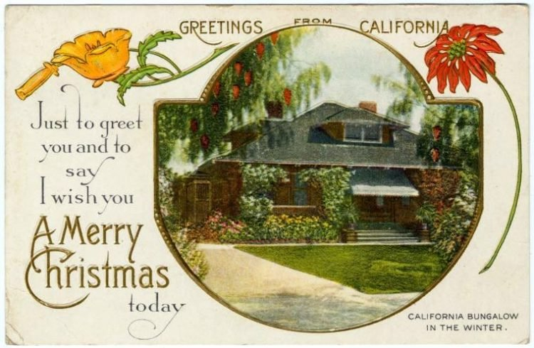 Vintage Christmas card from 1910 - Greetings from California