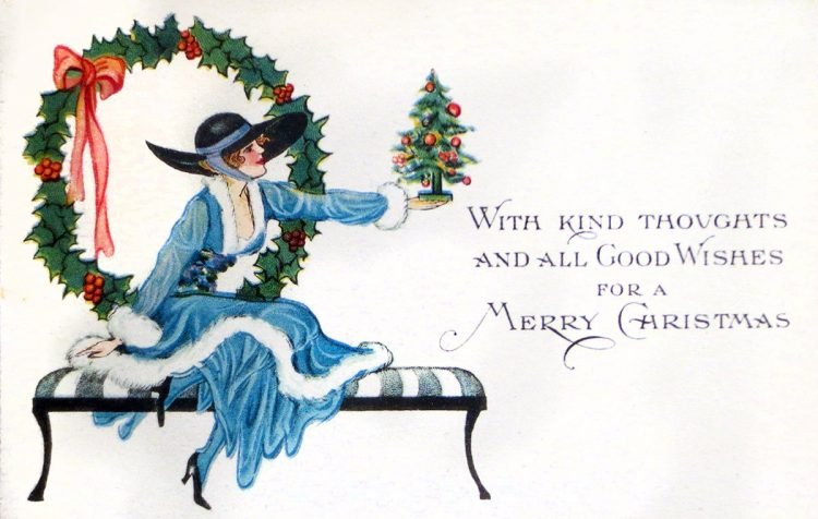 Vintage Christmas card from 1910 - With kind thoughts and all good wishes