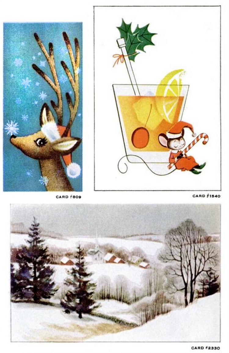 Vintage Christmas cards from 1957 (1)