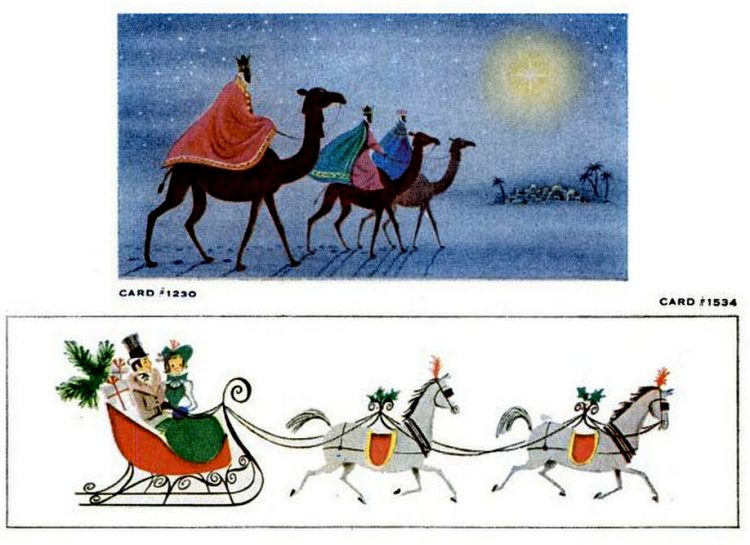 Vintage Christmas cards from 1957 (7)