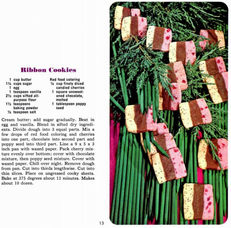 Vintage Christmas cookies - Ribbon - Wisconsin 1966