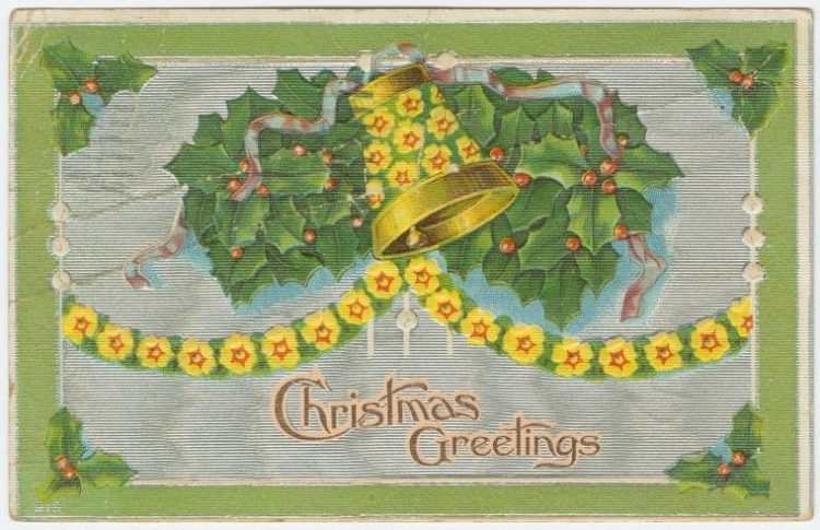 Vintage Christmas greetings card from 1909