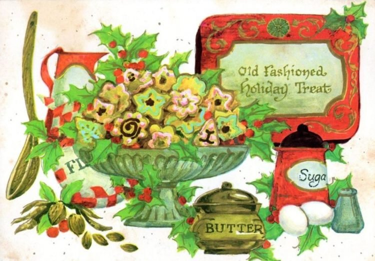 Vintage Christmas postcard with cookies
