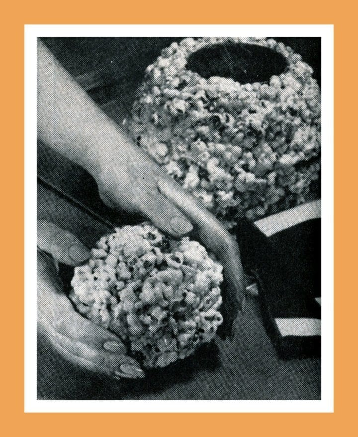 Vintage Christmas recipes and food gifts from 1969 - Popcorn snowman recipe