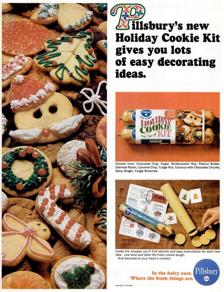 Vintage Christmas slice and bake cookie decorating kit from 1965