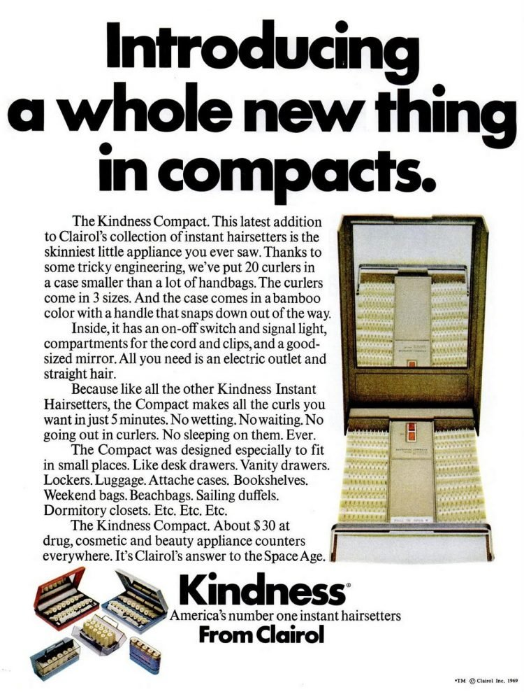 Vintage Clairol Kindness hair curlers from 1969