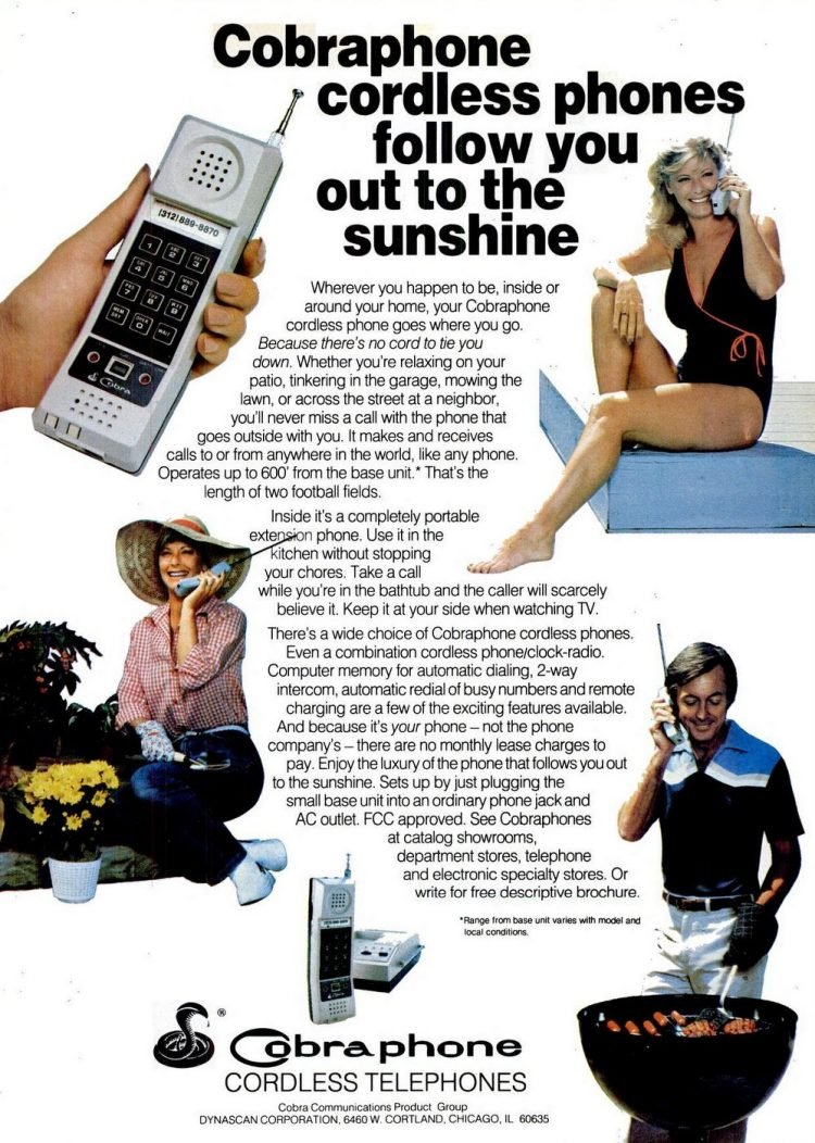 Vintage Cobra cordless phones from 1982