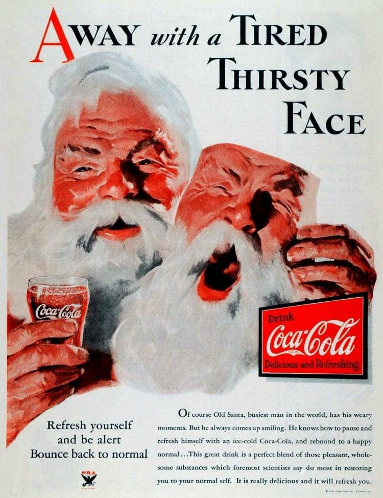 Vintage Coca Cola Santa from 1933