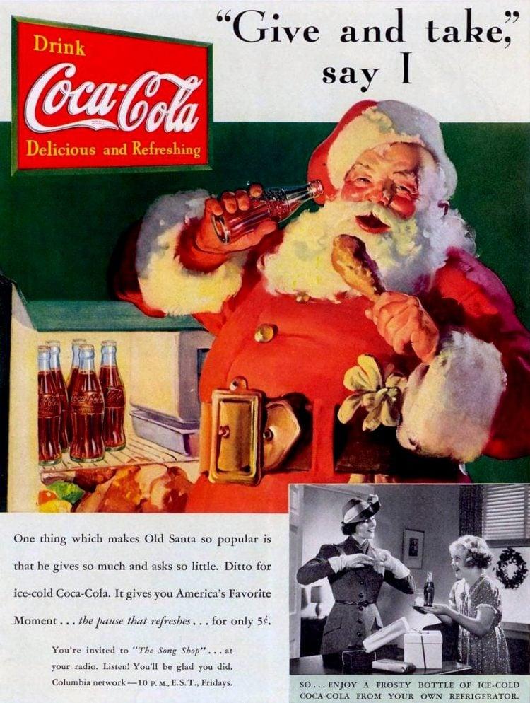 Vintage Coca Cola Santa from 1937