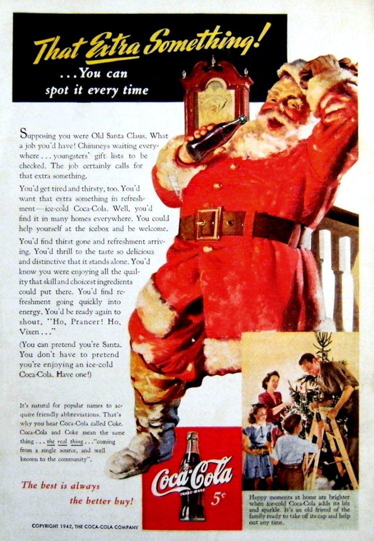 Vintage Coca Cola Santa from 1942