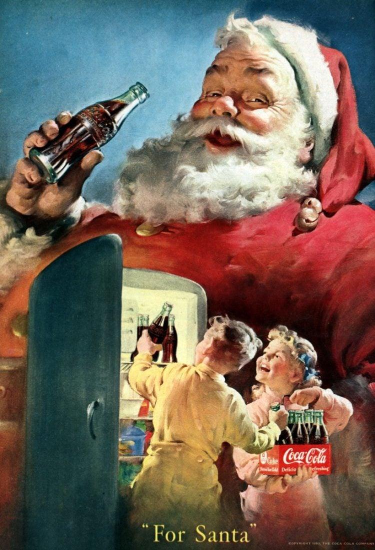 Vintage Coca Cola Santa from 1950