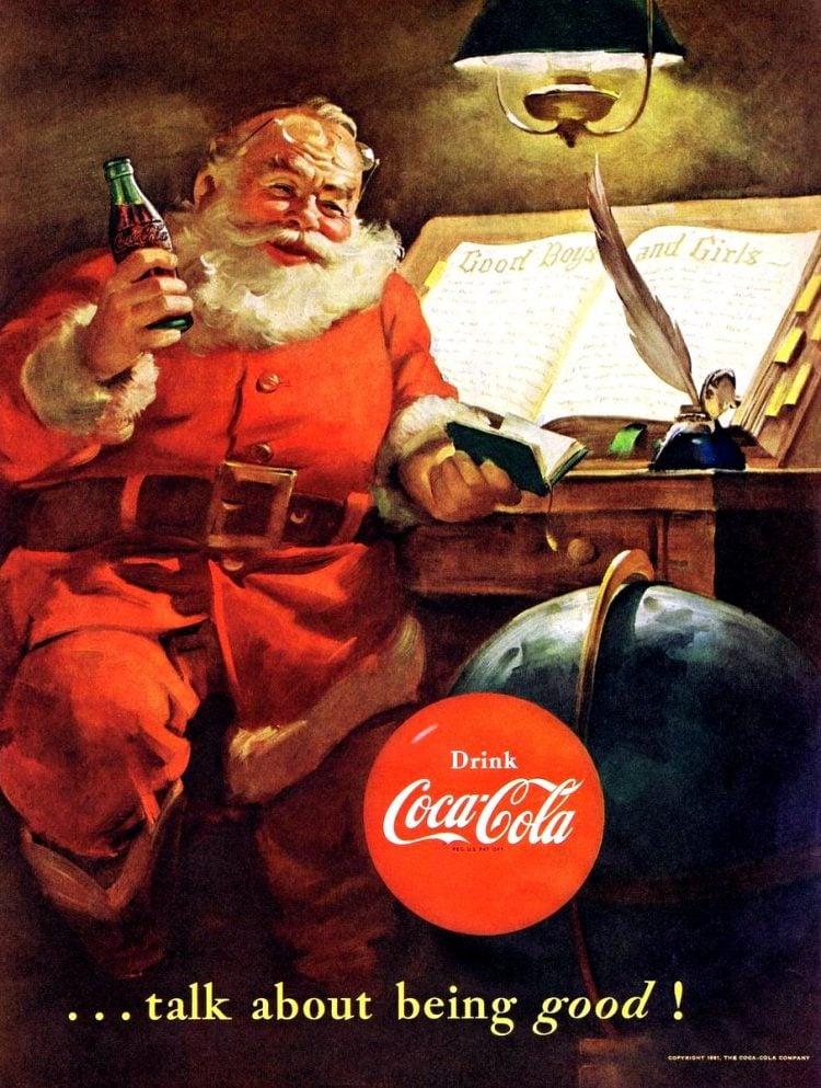 Vintage Coca Cola Santa from 1950s