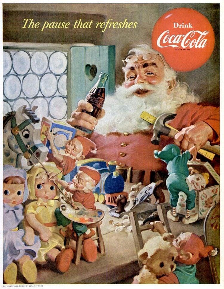 Vintage Coca Cola Santa from 1953