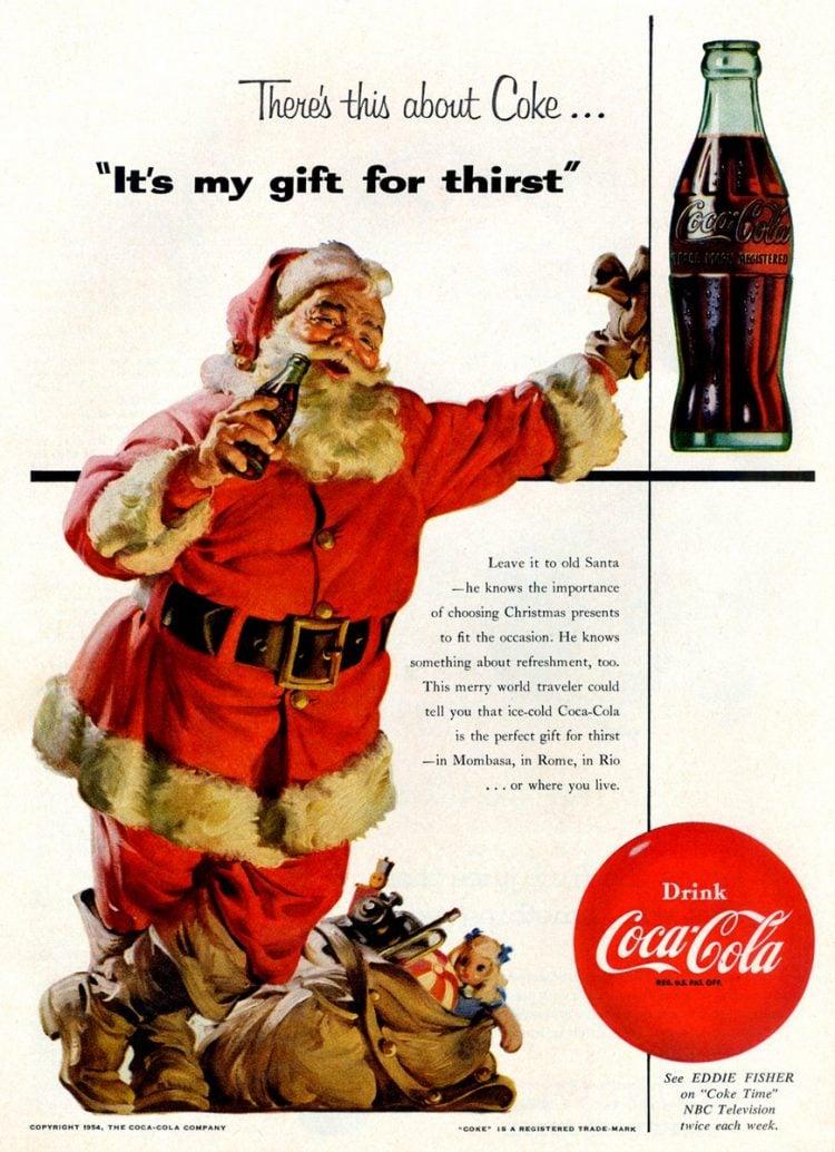 Vintage Coca Cola Santa from 1954