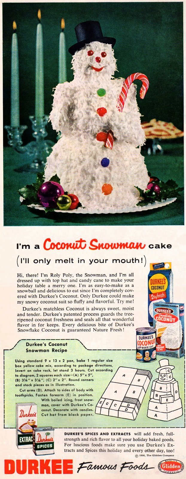 Vintage Coconut snowman cake recipe from 1958