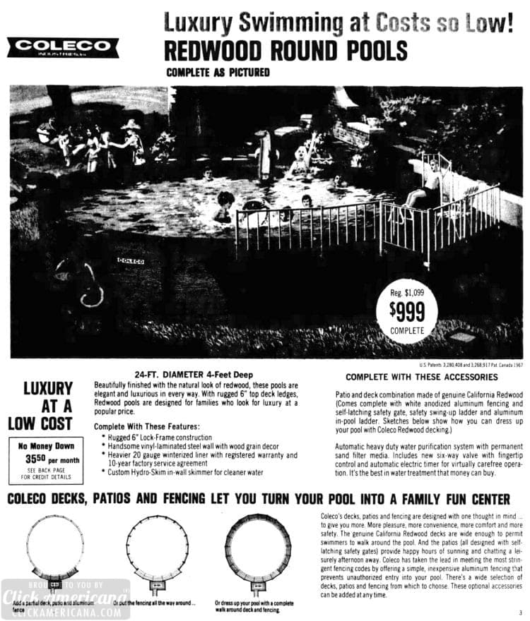 Vintage Coleco pool for the backyard: Above-ground swimming pools (1970)