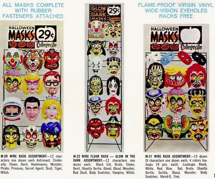 Vintage Collegeville masks from 1960s