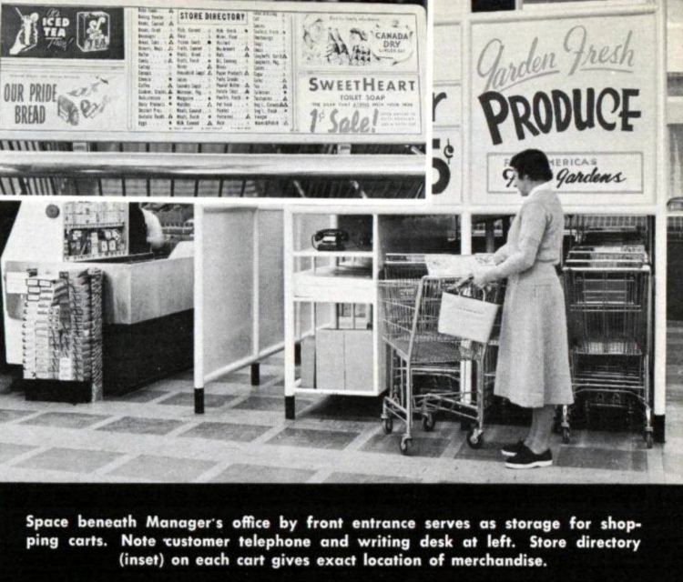 Vintage Colonial grocery store - Produce aisle in 1954