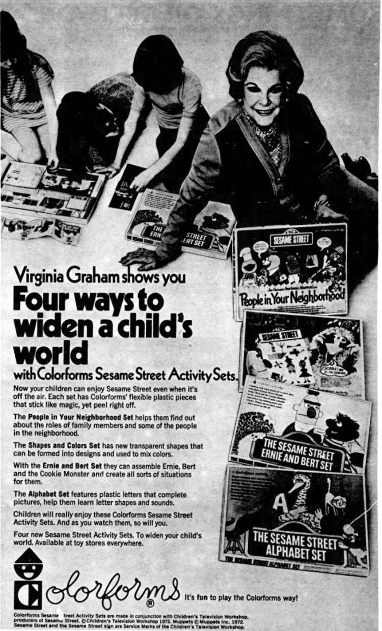 Vintage Colorforms ad from 1972 with Sesame Street Activity Sets and Virginia Graham