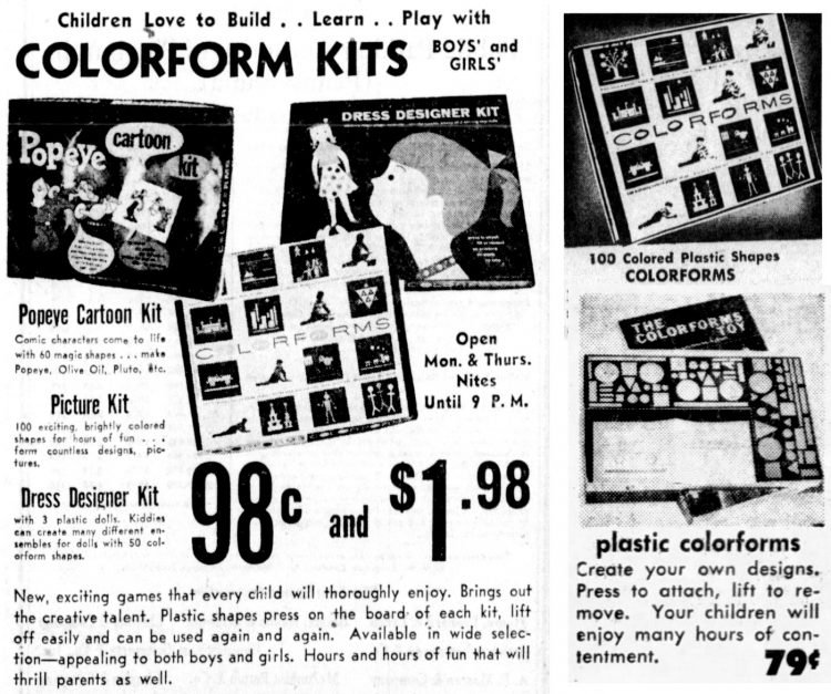Vintage Colorforms ads from the 1950s