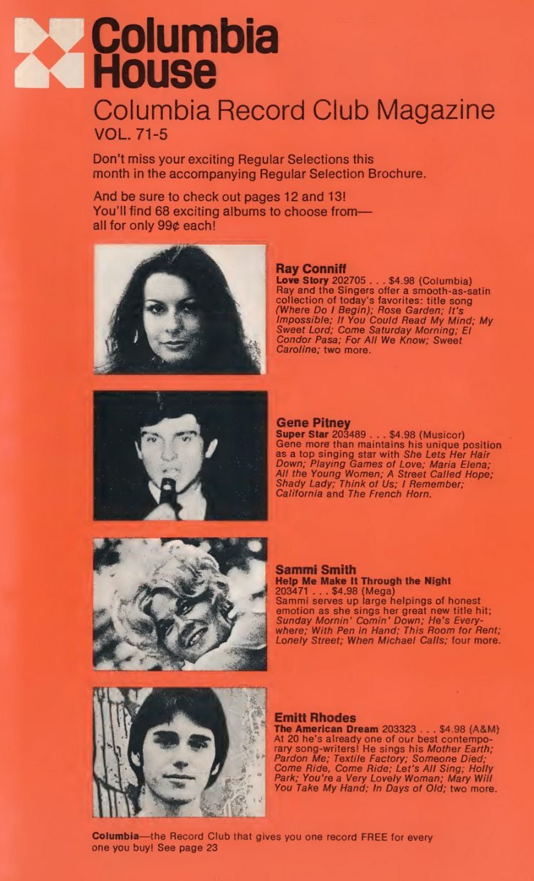 Vintage Columbia Record Club magazine with offers - 1971-006