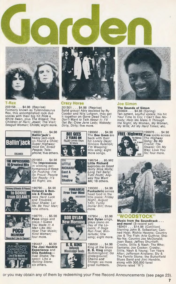 Vintage Columbia Record Club magazine with offers - 1971-009