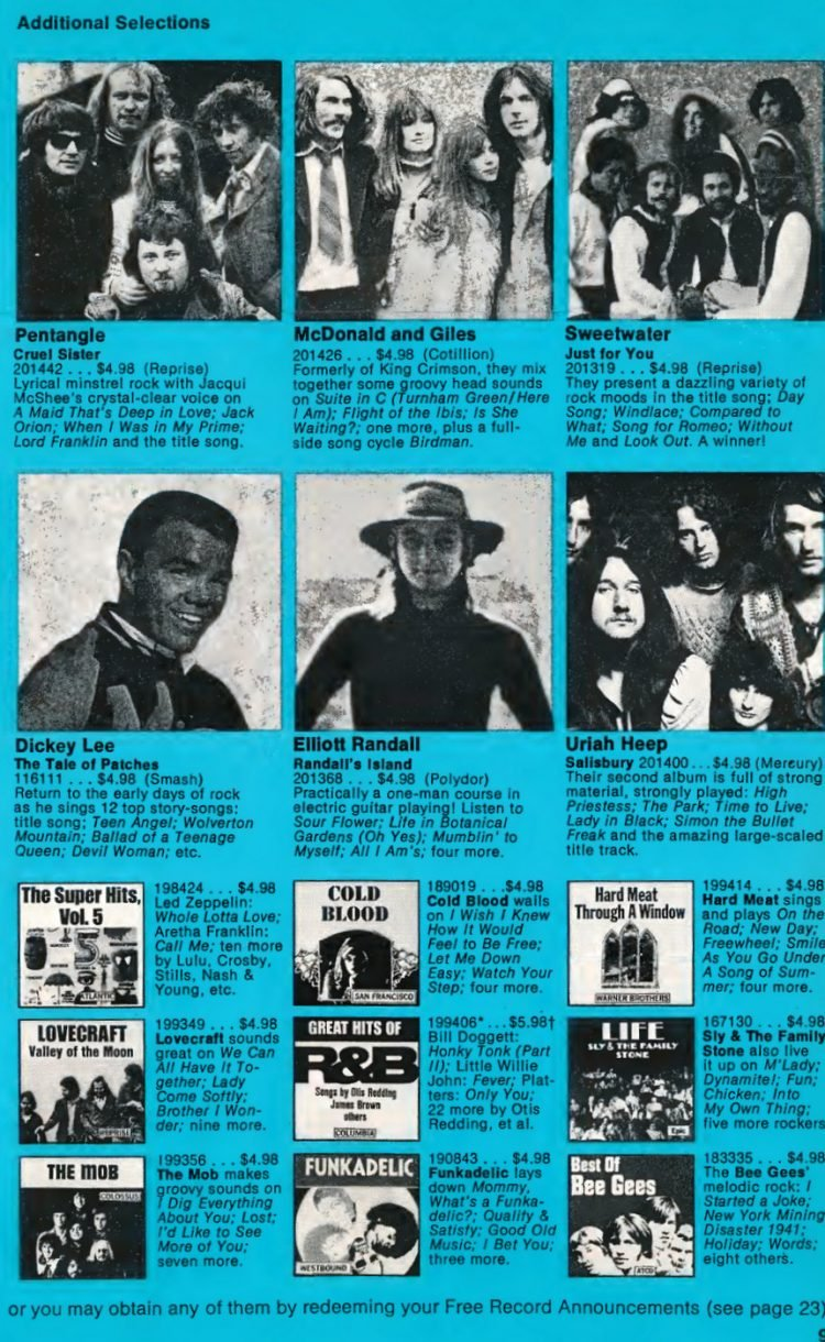 Vintage Columbia Record Club magazine with offers - 1971-010