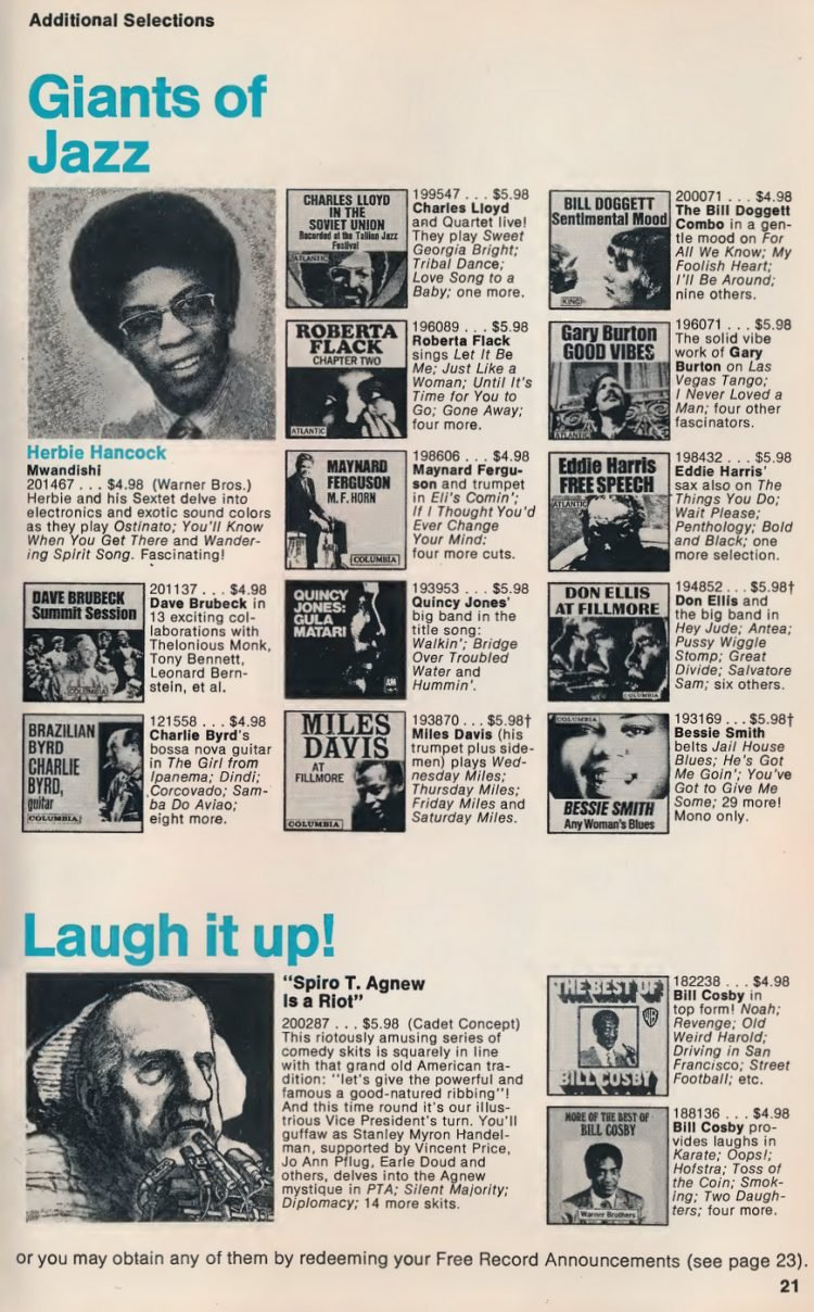 Vintage Columbia Record Club magazine with offers - 1971-016