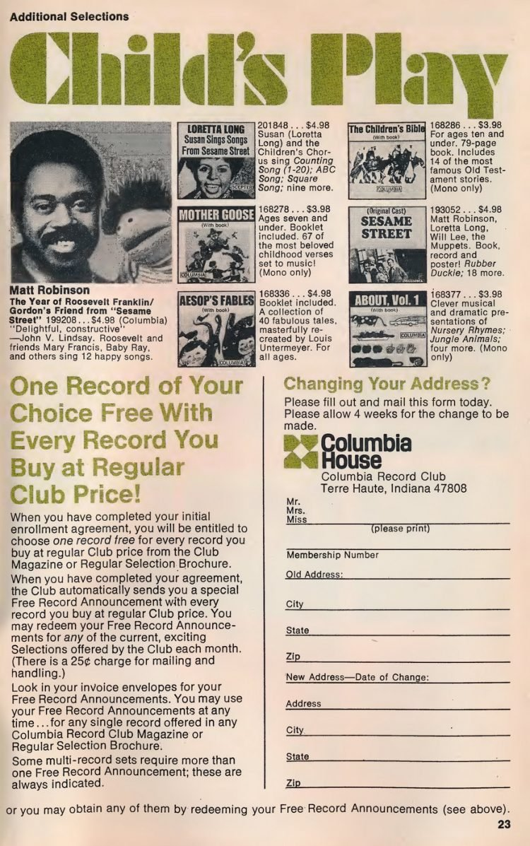Vintage Columbia Record Club magazine with offers - 1971-017
