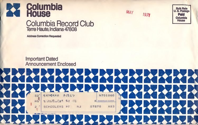 Vintage Columbia Record Club magazine with offers - 1971-1