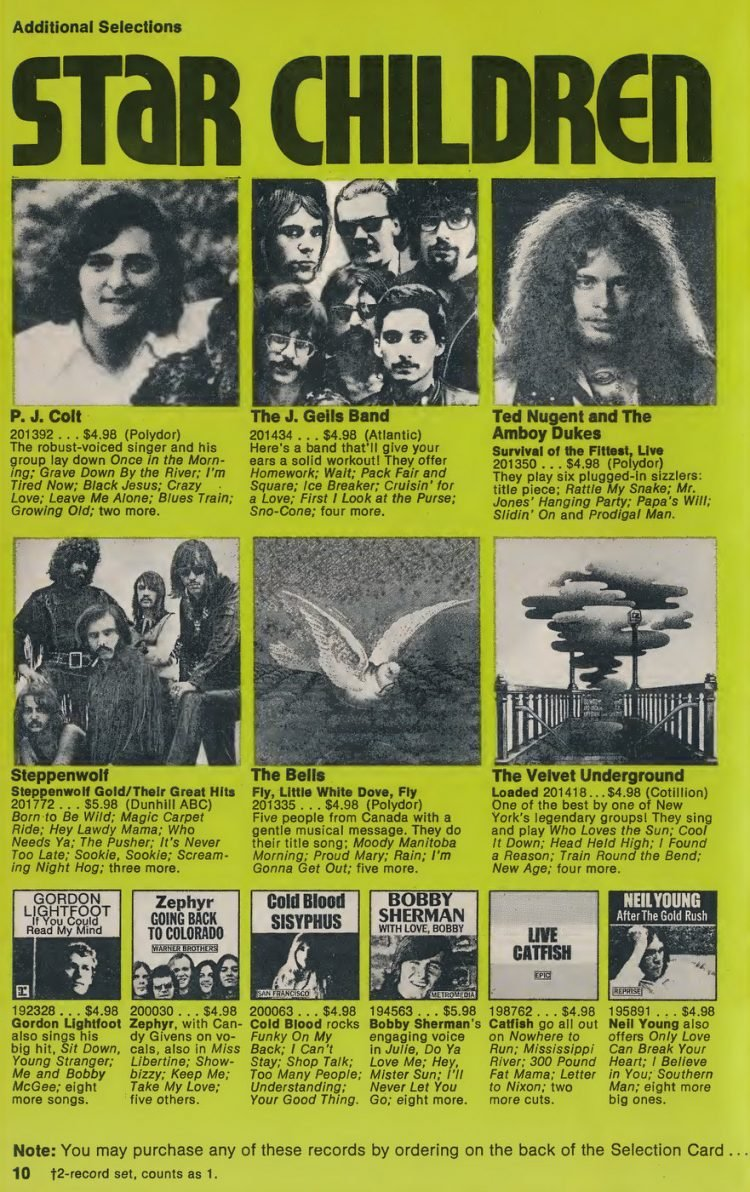 Vintage Columbia Record Club magazine with offers - 1971-10