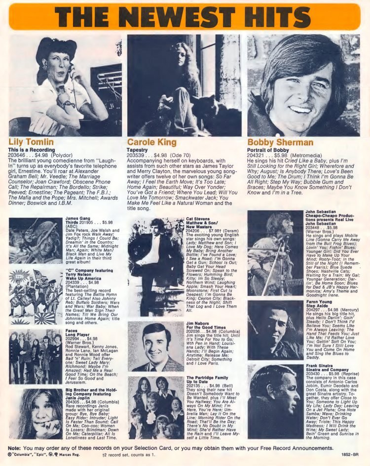Vintage Columbia Record Club magazine with offers - 1971-20