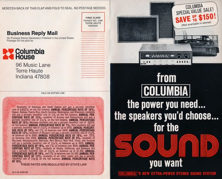 Vintage Columbia Record Club magazine with offers - 1971-21