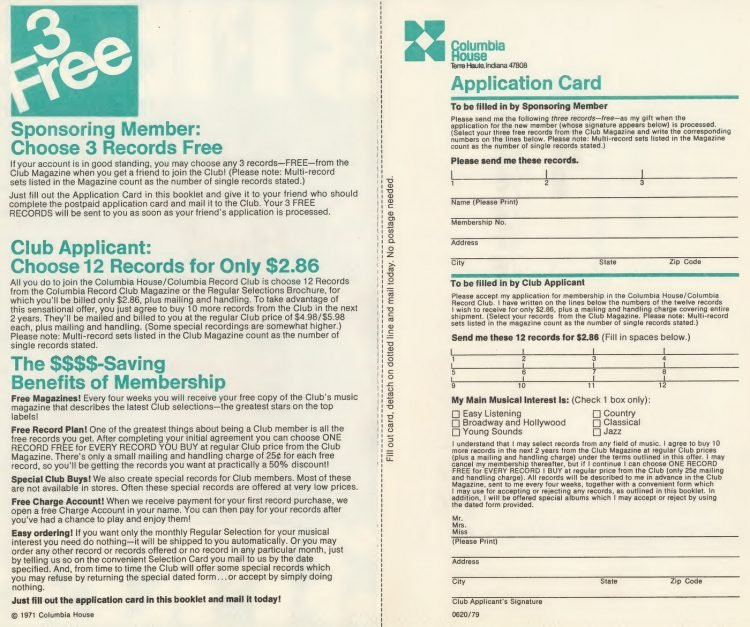 Vintage Columbia Record Club magazine with offers - 1971-26