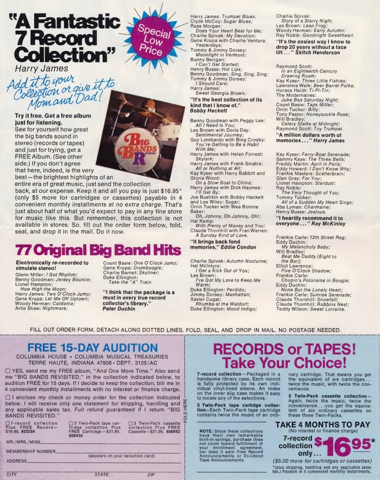 Vintage Columbia Record Club magazine with offers - 1971-4